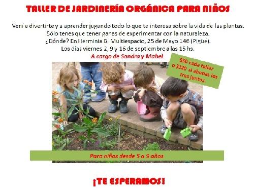 Taller de jardinería orgánica para niños de 5 a 9 años