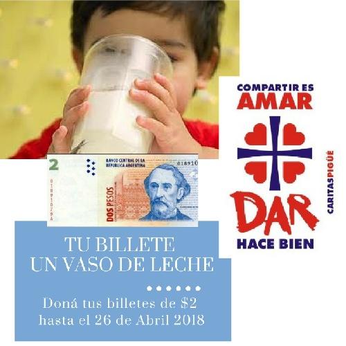 "Continua la campaña "" Tu billete un vaso de leche"" de Cáritas Parroquial Pigüé"