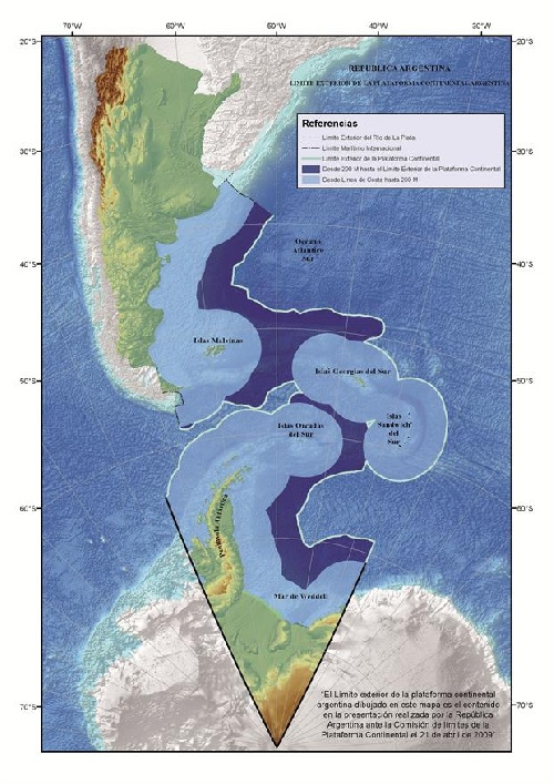Naciones Unidas (ONU) amplió la Plataforma Continental Marítima Argentina