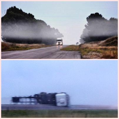 Ruta 33 cortada en km 72 ( Tornquist) por vuelco camión con sustancia peligrosa –Desvíos para circular