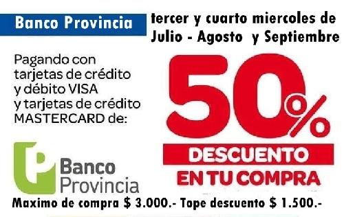 Vuelve el super descuento del 50% del Banco Provincia en supermercados e incluirá Precios Cuidados