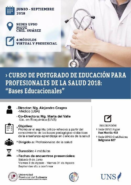 UPSO: CURSO DE POSTGRADO DE EDUCACION PARA PROFESIONALES DE LA  LA SALUD 2018