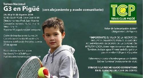 Tenis - Resultados finales del Torneo Nacional G3 realizado en nuestra ciudad.