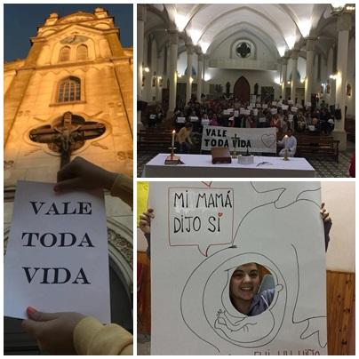"""Expresiones publicas con el lema """" Vale toda la vida """" ( anti aborto) de la comunidad católica de Pigüé"""
