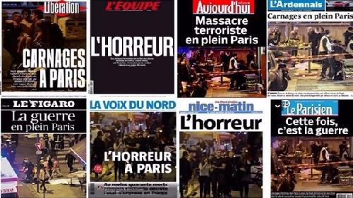 Los titulares franceses sobre el horror en París