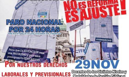 PIGÜÉ: SUTEBA ADHIERE AL PARO NACIONAL Y MOVILIZACIÓN DE CTERA AL CONGRESO ÉSTE MIÉRCOLES 29