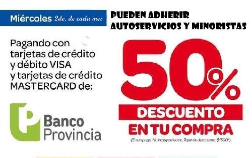 Autoservicios y minoristas pueden adherir a la promoción de descuentos del 50% del Banco Provincia